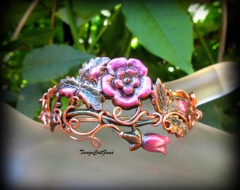 Organic Wire Wrap, Rose Bracelet, Copper Cuff, Hand Painted, Wild Rose Bracelet