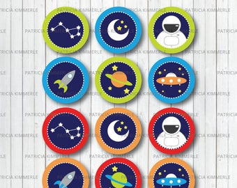Printable Cupcake Toppers, Space, Solar System, Rocket ship, Science, Alien Astronaut,Planetary Birthday,Decorations, DIY, INSTANT DOWNLOAD