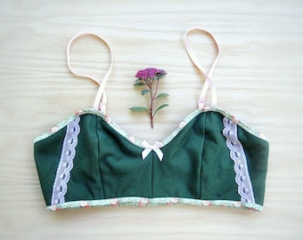 Limited edition organic bralette  - green knit jersey bra