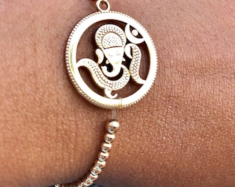 Solid 10k yellow gold Ganesh beaded bracelet