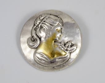 Vintage 925 Sterling Silver Girl with Pony Tail Round Relief Pendant Brooch Pin
