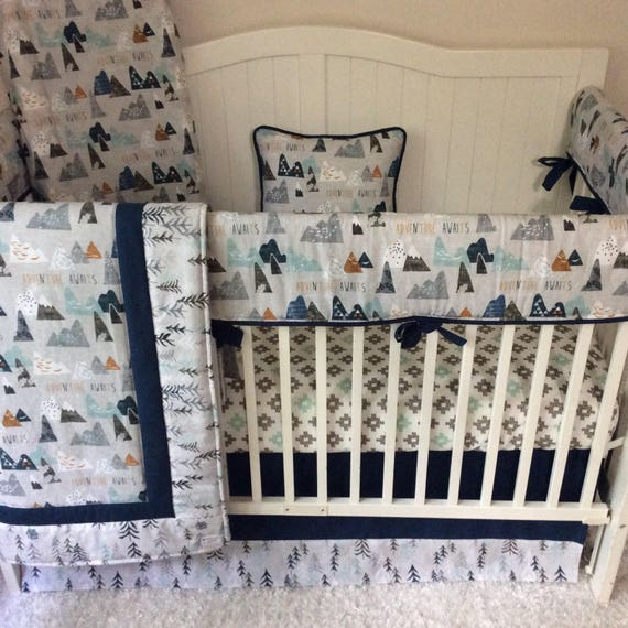 Baby Boy Crib Bedding Crib Sets Adventure Awaits Mountains