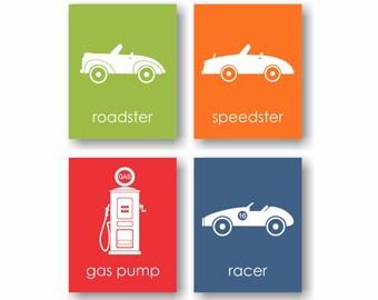 Vintage Car Nursery Art, Racing Baby, Transportation Art, Vintage Race Car Art, Vintage Cars, Speedster, Gas Pump, Modern Nursery - Set of 4