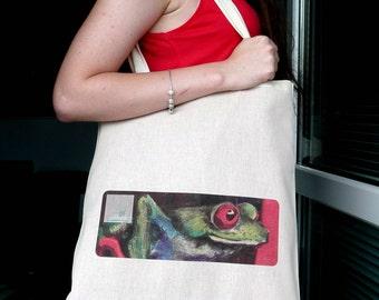 Frog detail Printed Art Natural Cotton Bag