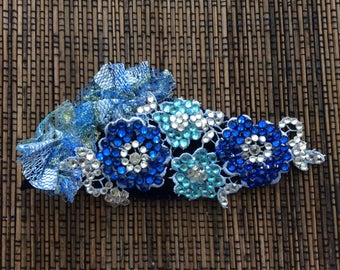 Blue Floral Fully Rhinestoned Hair Accessory