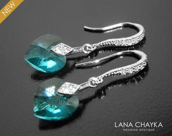 Light Turquoise Heart Crystal Earrings, Swarovski Heart Silver Earrings, Teal Dainty Heart Earrings, Wedding Bridal Bridesmaid Earrings