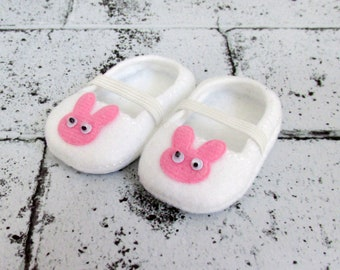 "Slippers to Fit 18"" American Girl Doll.Shoes to Fit Bitty Baby Doll.White Doll Slippers with Bunny Head Embellishment.White Doll Shoes."