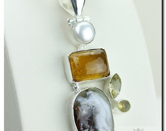 Made in Canada! Baltic Amber Geode Pearl 925 SOLID Sterling Silver Pendant + 4mm Snake Chain &  Worldwide Shipping