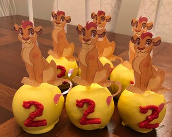 6 Chocolate Dipped Lion inspired Apples-Girl's Birthday Favors-Dessert Table Treats