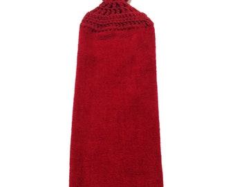 Dark Burgundy Hand Towel With Claret Crocheted Top