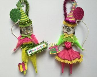 Grey Tabby Kitty Cat BIRTHDAY ornaments CAT ornaments vintage style chenille ORNAMENTS set of 2