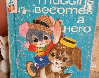 "Rand McNally Elf Book ""Muggins Becomes a Hero"" by Marjorie Barrows/Vintage 1965 Childrens Book/Adorable Vintage Artwork/Nursery/Baby Shower"