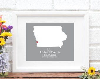 Iowa Wedding Gift, Custom State Map  , Personalized Engagement, US State Map One Year Anniversary Gift, New Home - Art Print