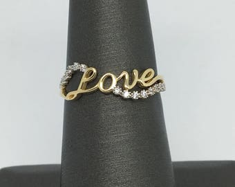 14K Yellow Gold CZ Love Ring