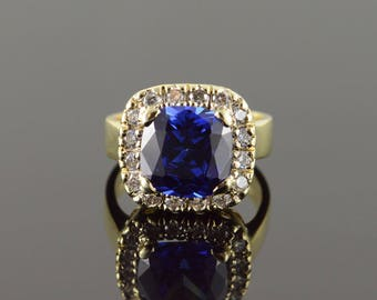9k Imitation Sapphire CZ Halo Ring Gold