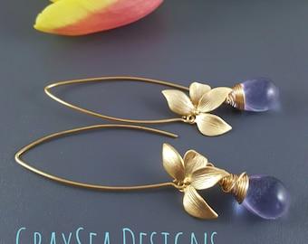 Lavender earrings, Wire wrapped long gold earrings, orchid flower earrings, spring summer 2018 jewellry