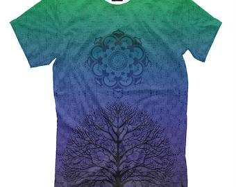 Magic mandala t-shirt -  Psychedelic clothing EDM tee Multi-Color print tree ombre