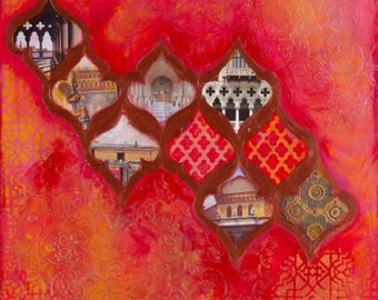 "Fine Art Print 'In Venice They Know' 12x18"" Moroccan print, Red color print, living room decor, Arabesque art, Uplifting art, Bedroom art"
