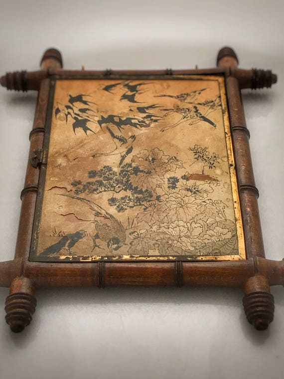 Antique faux bamboo frame tryptich chinoiserie mirror with original mercury distressed glass