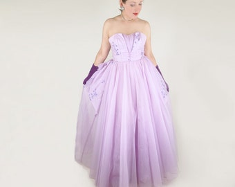 50s Lavender Frothy Strapless Long Dress - Belle of the Ball S