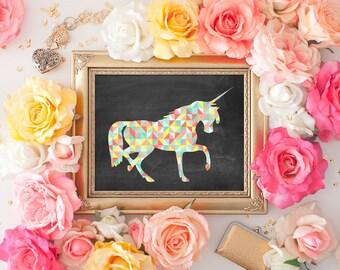Geometric Unicorn Art Print - 8x10 Printable Art, Unicorn Decor, Unicorn Print, Wall Art, Unicorn, Chalkboard