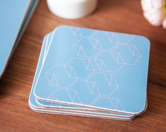 Geometric coasters, hexagon design, teal coasters, coral, set of 4, 10x10cm
