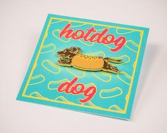 HotDog Dog Enamel Pin // Dog in a bun