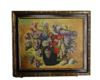 Oil Painting on Canvas Framed Still Life Wildflowers Poppies Lilacs C. Raets