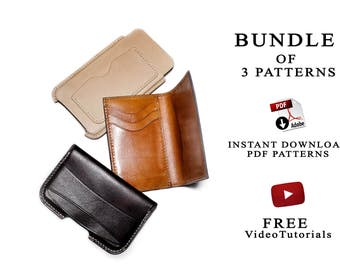 Bundle of 3 leather craft pattern+build along video tutorials/instant download pdf patterns/leather craft