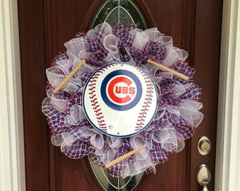 Chicago Cubs wreath, Chicago Cubs decor, MLB wreath, Chicago Cubs door decor,  MLB decor, baseball wreath, Chicago Cubs fan,