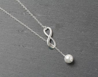 Infinity necklace, infinity jewelry, infinity pearl necklace, bridesmaid necklace, wedding jewelry, Bridal party gift, eternity necklace