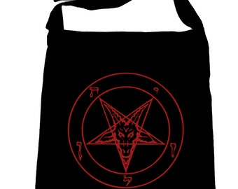 Red Classic Inverted Pentagram Baphomet Goat Head Sling Cross Body Bag - DYS-SB-008-RED