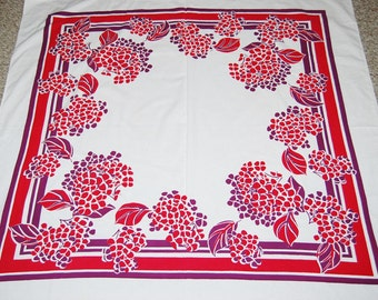 Vintage 1950's Tablecloth Purple and Red on White