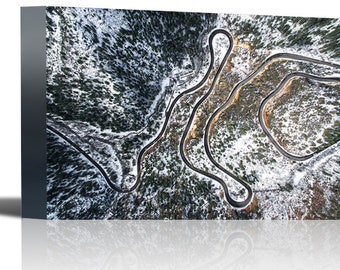 Forest Winding Road Aerial View Arizona Art Print Wall Decor - Canvas Stretched Framed