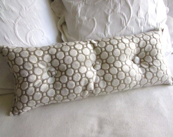 velvet pearl ivory 9x25 Bolster/lumbar pillow with buttons