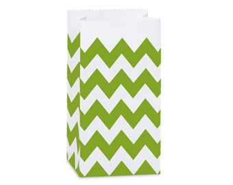 10 Green Apple Chevron Paper Gift Bags . 2lb