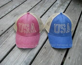 USA Trucker Hat  - distressed trucker hat  - baseball hat USA