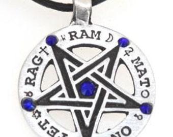 Pewter Inverted Pentagram Tetragrammaton Runes Pendant with Swarovski Crystal Sapphire Blue SEPTEMBER Birthstones (55C)