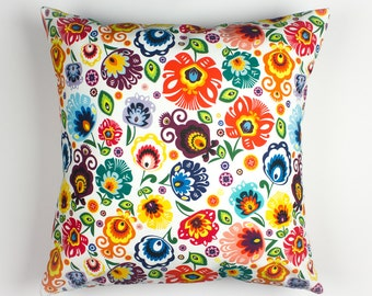 Pillow covers 16x16, Colorful pillow covers, Folk pillow, Slavic decor, Flower pillow covers, Handmade pillow cases, Colorful bedding decor