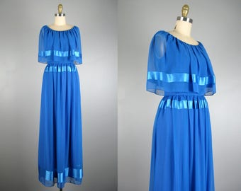Vintage 1970s Dress 70s Blue Chiffon Gown with Satin Stripes by Miss Elliette Size M
