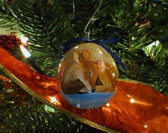 Slumbering Winter Animals Hand-Painted Gourd Ornament - Set of 4 - Tan