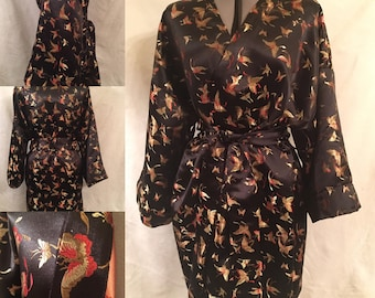 Chinese Brocade Satin Kimono-style Dressing Gown