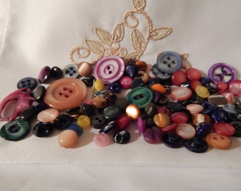 Colorful Dyed Mother of Pearl Shell Buttons - Different Sizes Approximately 100 Buttons