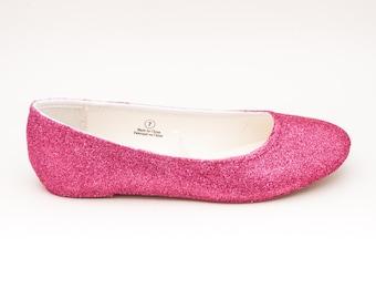 Glitter | Rose Pink Ballet Flat Slipper Custom Shoes