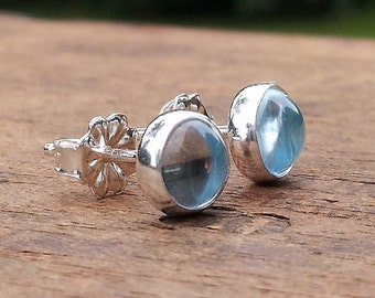 6mm Sky Blue Topaz Gemstone Stud Post Earring Fine Sterling Silver Shiny - Little Bits of Color