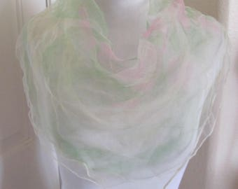 Pink Green White Sheer Nylon Scarf Square - Affordable Scarves!!! Why Pay More! (6E)