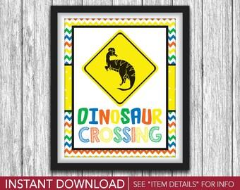 "Dinosaur Crossing Sign - Printable Dinosaur Birthday Party Decorations - 8""x10"" Welcome Sign - DIY Digital File"