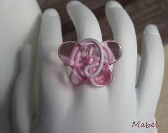 Soft pink butterfly Ring, silver or rose, adjustable aluminum wire, wedding