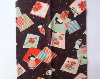 Fabric L48cm W108cm Kimono girl Japanese design