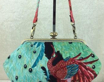 Handmade handbag purse clutch kiss clasp Grace frame bag Alexander Henry Peacocks Kujaku